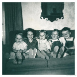 Jan, in the middle among her buddies and cousin David on the left