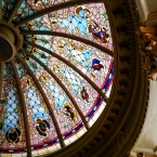 A section of the stained glass oval dome