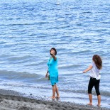 Elif and Mina enjoying the water