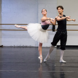 Mindaugas Bauzys (Prince Desire) and Emily Loscocco (Lilac Fairy) in Act II rehearsal