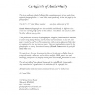 The Certificate of Authenticity, signed by the artist