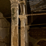 Wooden columns covered with plaster