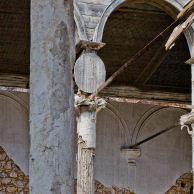 Columns look like bandaged and plastered broken legs