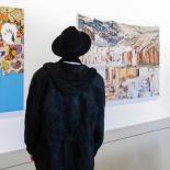 A visitor enjoying the art