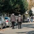 Jan and Binnaz walking on our street
