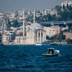 Ortakoy Mosque and a boat