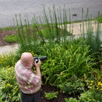 Cemal photographing in the front
