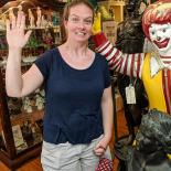 Sarah saluting Ronald McDonald