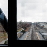 Looking out the window, Kingston Rail Station, RI