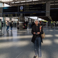 Jan at St. Pancras Station to Sheffield
