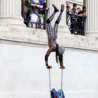 Street performer, hand-stand