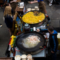 Making paella downstairs, from the other side