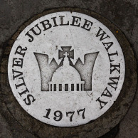 Silver Jubilee marker on the ground