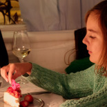 Enjoying the cheese cake, Mina's birthday dinner at Ayna (mirror)