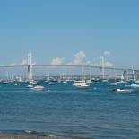 Jamestown Bridge and harbor