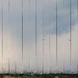 Light on white fence