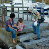 Elif, Jan, and Mina on the dock