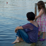 Elif and Mina on the dock