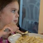 Mina enjoying her pasta