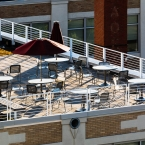 Terrace eating area for Brown U facilities