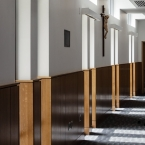 The Crucifix in the hallway speaks of the roots of the college
