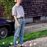 Jan standing in front of our house, Warwick, 1996