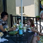 The girls enjoying their sandwiches