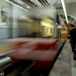 The short train arrives at the Karakoy end