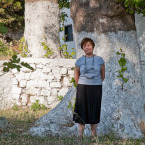 Binnaz under the plane tree at Ayazma
