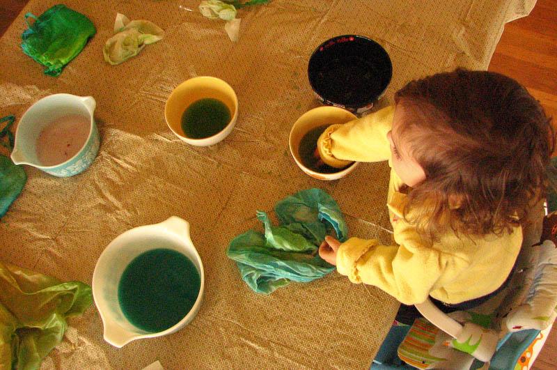 Mina dyeing silk squares