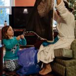 Girls opening gifts from Turkey, auntie Binnaz and Ergun sent