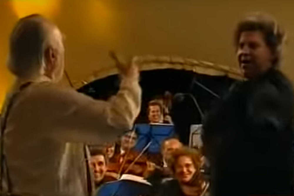 Mikis Theodorakis and Anthony Quinn on Stage