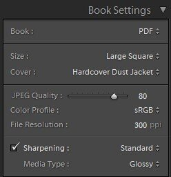 Book Settings in Lightroom 4