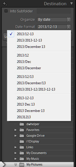 Lightroom Organize Import by Date