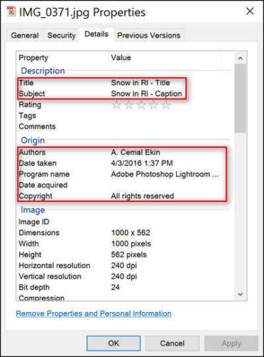 Windows File Manager Metadata Entry