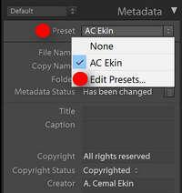 Lightroom Metadata Presets
