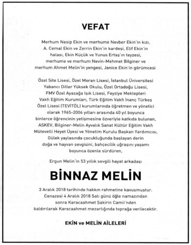 Binnaz Melin obituary