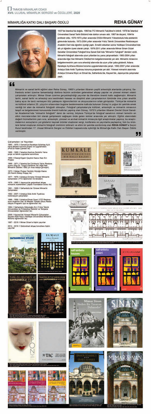 The Chamber of Architects of Turkey Award For Contributions to Architecture