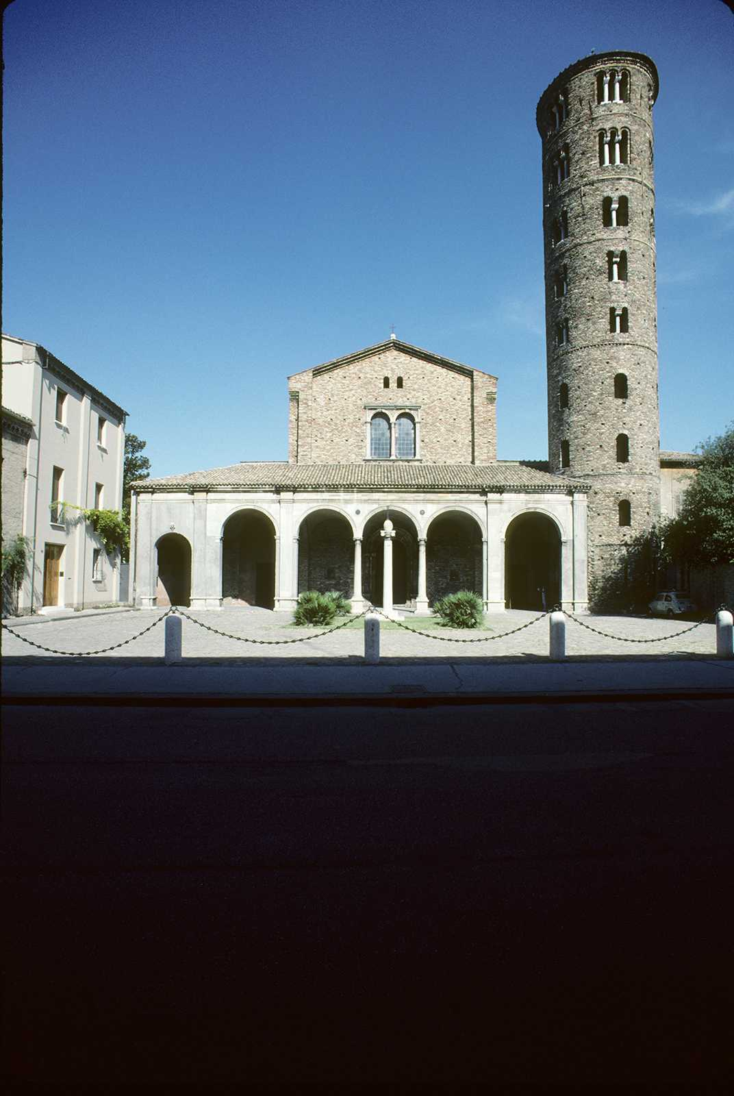 Basilica of Sant' Apollinare Nuovo, Ravenna, 1986. The tower near the corner of the frame shows significant distortion.