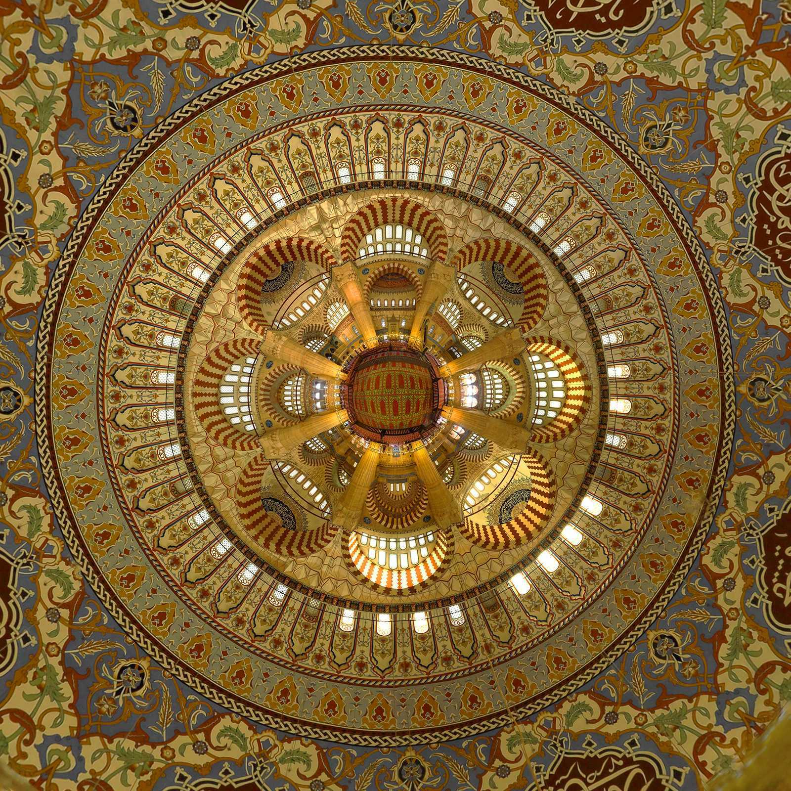Selimiye Mosque, Edirne, 2013. Looking down from the dome, digital stitch.