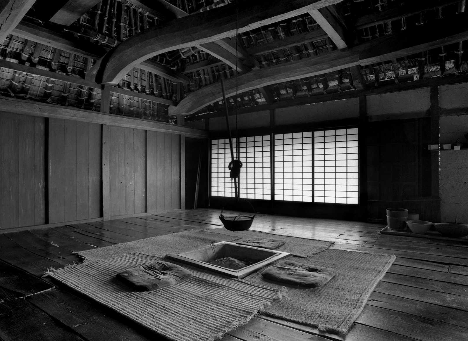 Shikoku Mura, Japan, 1979. The same interior space photographed straight on and form the corners.