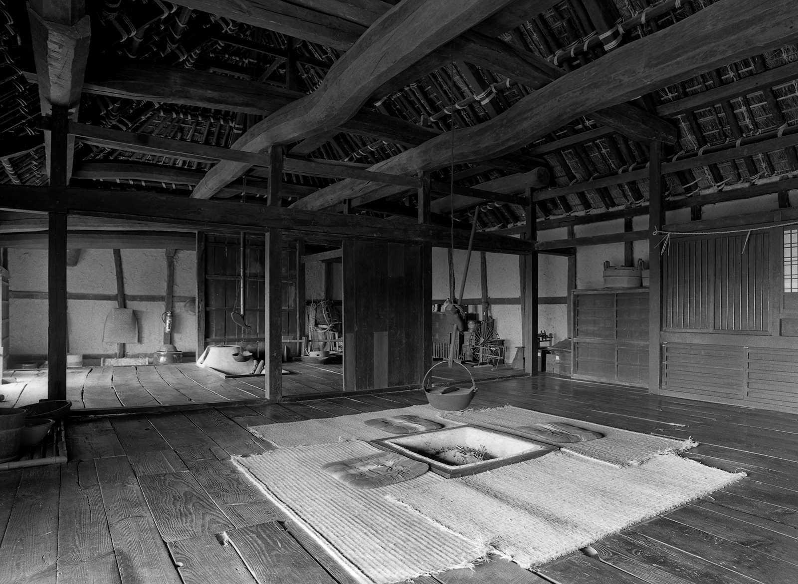 Shikoku Mura, Japan, 1979. The same interior space photographed straight on and form the corners.