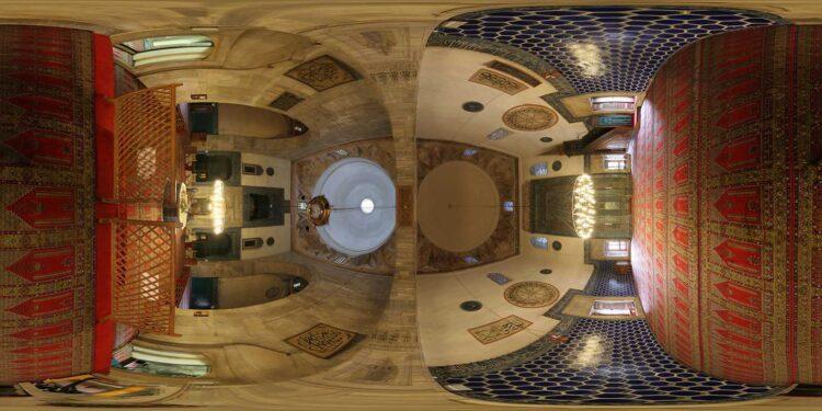 The Green Mosque, Bursa, 2008. Spherical equirectangular rendering.