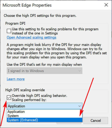 Check Override, then choose System or System (Enhanced)