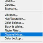 In Photoshop, create a new Channel Mixer Layer
